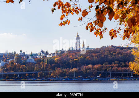 autumn landscape the Dnieper River and the right bank of the Kiev-Pechersk Lavra of Kiev - Stock Image