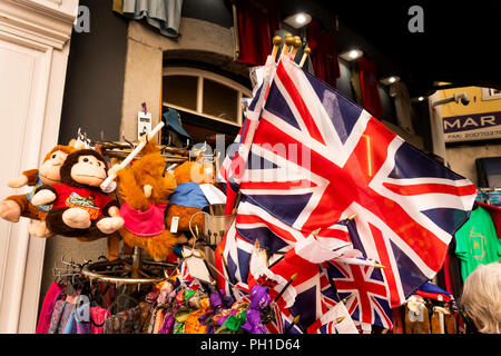 Gibraltar, Main Street, souvenir shop selling British union jack flags and toys - Stock Image