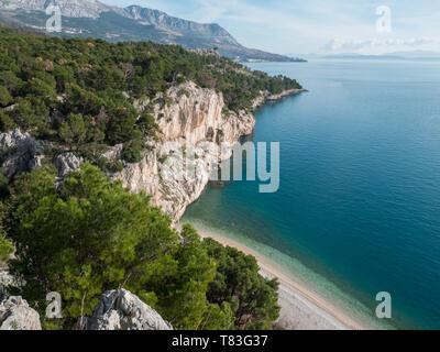 Beautiful landscape over famous beach Nugal on Makarska riviera in Croatia - Stock Image