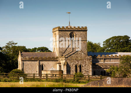 UK, England, Yorkshire, Filey, Saint Oswalds parish church from Filey Country Park - Stock Image