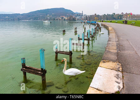 Annecy lake and Old Town, France - Stock Image