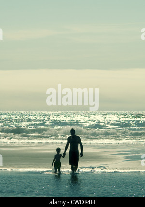 Father & Son at Beach - Stock Image