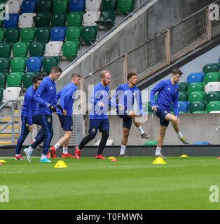Windsor Park, Belfast, Northern Ireland.20 March 2019. Northern Ireland training in Belfast this morning ahead of their UEFA EURO 2020 Qualifier against Estonia tomorrow night in the stadium.  Craig Cathcart leads this group in training. Credit: David Hunter/Alamy Live News. - Stock Image