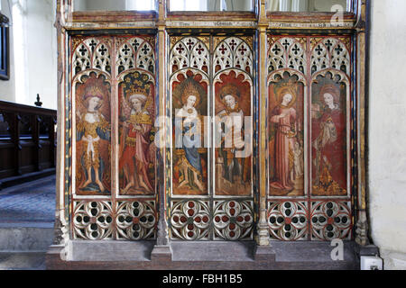 Painted saints and angels on the rood screen, Barton Turf Church, Norfolk. From L to R: Cherubim, Principalities, - Stock Image