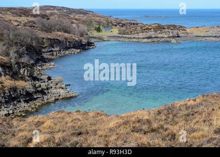 Sheltered inlet near Fearnmore on Loch Torridon, Applecross Peninsula, Wester Ross, Highland Region, Scotland - Stock Image