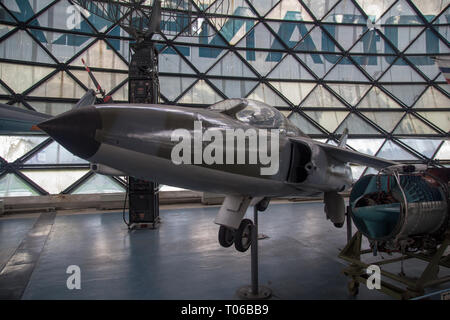 Folland Gnat F.Mk.1 aircraft a British compact swept-wing subsonic fighter aircraft displayed in Serbian Aeronautical museum in Belgrade - Stock Image