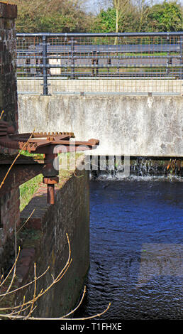 A view of some remaining features of the former watermill at Horstead, Norfolk, England, United Kingdom, Europe. - Stock Image