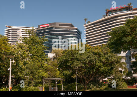 Corporate offices in South Brisbane, including the headquarters of Flight Centre Travel Group, behind South Bank, Queensland, Australia - Stock Image