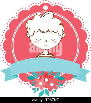 Stylish boy blushing cartoon outfit stripped tshirt portrait  floral bloom frame ribbon banner vector illustration graphic design - Stock Image