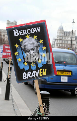John Bercow pro EU Brexit posters outside the Houses of Parliament in Westminster, London England UK  4th April 2019  KATHY DEWITT - Stock Image