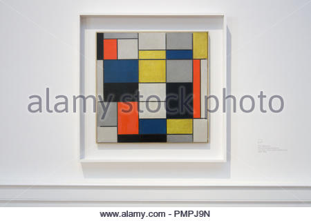 Piet Mondrian, Composition A, painting  1923, 20th century modern geometric abstract art - Neoplasticism, Galleria Nazionale di Arte Moderna Rome - Stock Image