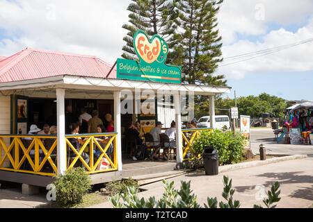 Fred's Belgian waffles shop in Saint John's, Capital of Antigua and Barbuda - Stock Image