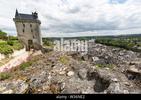 Chinon, France. Picturesque view of the Fortress Royal with the Clock Tower in the background. - Stock Image