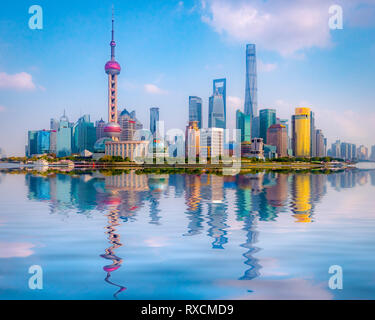 1 December 2018: Shanghai, China - The Huangpu River and the skyline of the Pudong district, Shanghai. - Stock Image