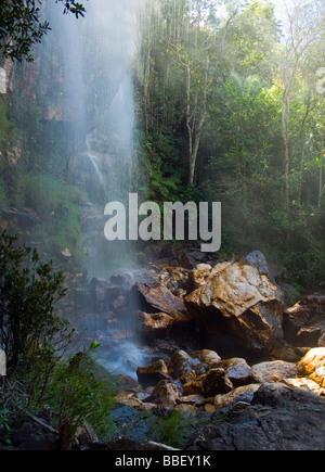 Agua Fria Waterfall Chapada dos Veadeiros Veadeiros Tableland Goias Brazil - Stock Image