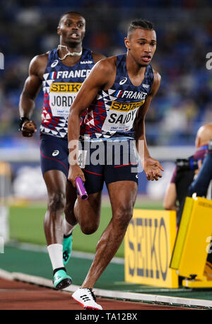 YOKOHAMA, JAPAN - MAY 12: Fabrisio Saidy of France in the B final of the mens 4x400m  during Day 2 of the 2019 IAAF World Relay Championships at the Nissan Stadium on Sunday May 12, 2019 in Yokohama, Japan. (Photo by Roger Sedres for the IAAF) - Stock Image