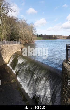 Spillway from Waterloo Lake in Roundhay Park, Leeds, West Yorkshire, England, UK - Stock Image