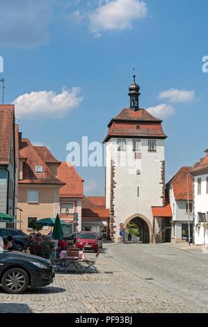 Town Gate, Schlüsselfeld, Franconia, Bavaria, Germany, - Stock Image