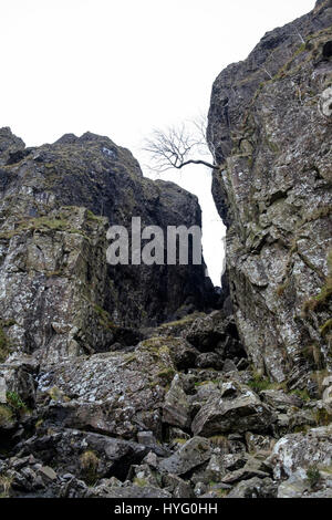 Looking up rocky Devil's Kitchen rock fissure from below in Snowdonia National Park. Cwm Idwal, Ogwen Valley, - Stock Image