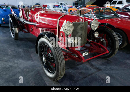 Three-quarter front view of a 1923, Alfa Romeo RL Targa Florio,in the Paddock area of the 2018 London Classic Car Show - Stock Image