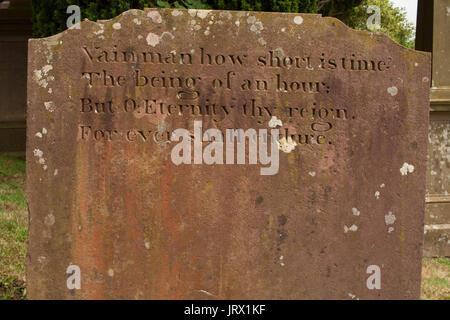 'Vain man' gravestone in KirkOswald church Ayrshire, Scotland, Great Britain - Stock Image