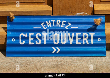 Sign in shop doorway, Saint Felicien,Ardeche,Rhone Alps,France - Stock Image