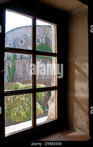 View of ancient prison from staircase of Rolin Museum Autun Burgundy France - Stock Image