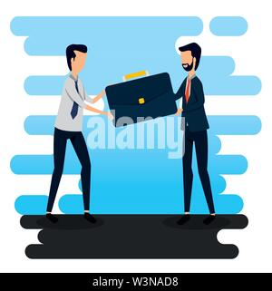 businessmen with briefcase data office information - Stock Image