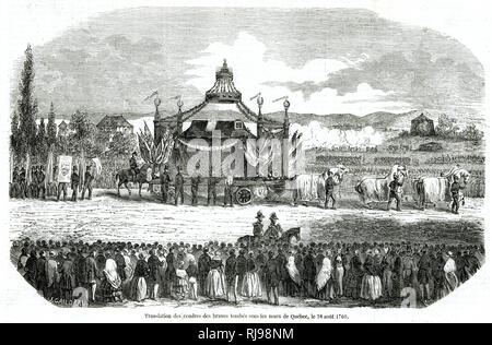Procession of the ashes of French soldier who fell in Battle of Quebec, on 28 August 1760. - Stock Image