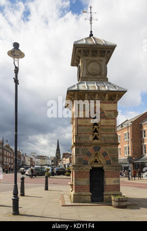The Clock Tower and drinking fountain, Front Street, Tynemouth, Tyne and Wear. A grade II listed building dating - Stock Image