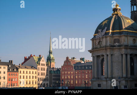 Stockholm architecture, including Riddarholmen Church, Stockholm, Sweden. - Stock Image