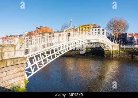 Ha'penny Bridge in Dublin - Stock Image