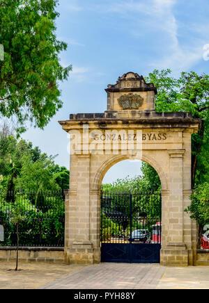 Entrance to the Gonzalez Byass winery / cellars, Jerez de la frontera Spain - Stock Image