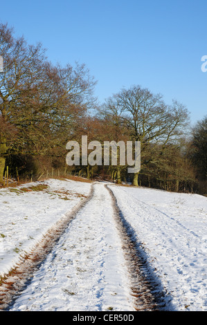 Snow covered bridleway near the north Oxfordshire village of Hook Norton - Stock Image