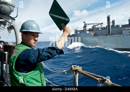 USS Hue City takes on stores. - Stock Image