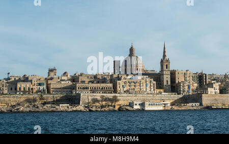 Night and day view of Valletta from Sliema Malta - Stock Image