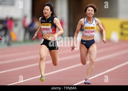 Osaka, Japan. 19th May, 2019. (L to R) Anna Doi (JPN), Kana Ichikawa (JPN) Athletics : IAAF World Challenge Seiko Golden Grand Prix 2019 Osaka Women's 100m Final at Yanmar Stadium Nagai in Osaka, Japan . Credit: AFLO/Alamy Live News - Stock Image
