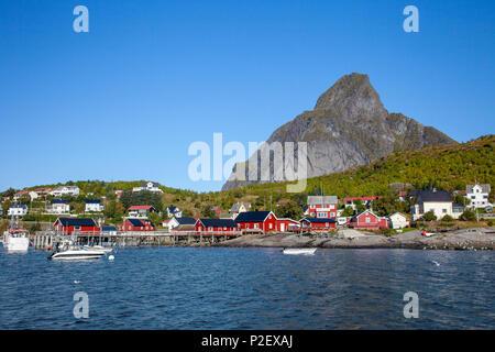 Port, Boat, Reine, Fjord, Moskenesoya, Lofoten, Norway, Europe - Stock Image