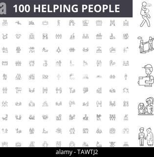 Helping people line icons, signs, vector set, outline illustration concept  - Stock Image