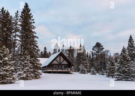 A wooden cabin in snow covered pine forest. Duluth, Minnesota, USA. - Stock Image