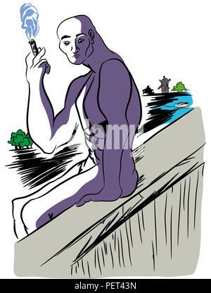 smoking man. smoker man smoking at the edge of the precipice. - Stock Image