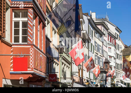 Augustinergasse, Agustiner alley, swiss national flag,  Zurich, Switzerland - Stock Image