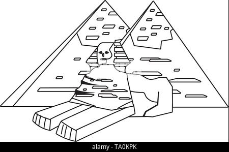 Egyptian pyramids and sphinx landmark design, Travel trip vacation tourism journey and tourist theme Vector illustration - Stock Image