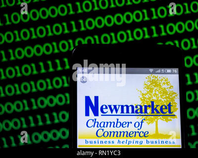 Ukraine. 16th Feb, 2019. Newmarket Chamber of Commerce logo seen displayed on a smart phone. Credit: Igor Golovniov/SOPA Images/ZUMA Wire/Alamy Live News - Stock Image