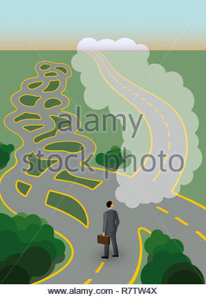 Businessman at crossroads with complex maze but dreaming of straight path - Stock Image