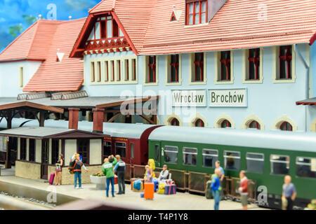 Miniature model of Wroclaw Railway Station, at Kolejkowo, Wrocław, Wroclaw, Wroklaw, Poland - Stock Image