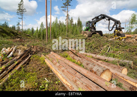 John Deere 1170E forest harvester and felled and bucked spruce logs at clear cutting area , Finland - Stock Image