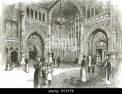 House of Commons lobby in the Victorian era - Stock Image