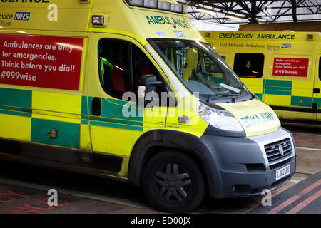 A waiting ambulance at Leicester Royal Infirmary A&E. - Stock Image