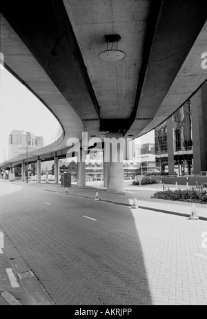 Underneath the DLR Docklands London - Stock Image